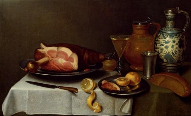 stilleben schinken und zitronen auf 2 zinntellern zinnkelch venezianisches weinglas 2 tonkrüge salzfäßchen und messer by alexander adriaenssen