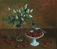 bowl of red cherries by margaret hannah olley