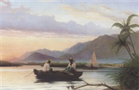 figures boating on a lake in haiti by hans christian koefoed