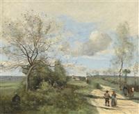 saintry près de corbeil, la route blanche by jean-baptiste-camille corot