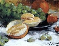 nature morte aux oranges et aux raisins by louis edouard garrido