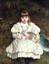 portrait of a young girl with her pet rabbit by francis montague (frank) holl
