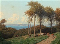 summer day, a shepherd with his cows, in the background view to the sea by carl frederik bartsch
