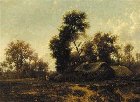 figures in a wooded landscape by cottages by jean alexis achard
