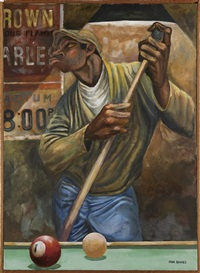 untitled (chalking the cue stick) by ernie barnes