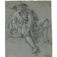 a seated peasant woman, with a basket by her side (+ 2 others; 3 works) by jan miel