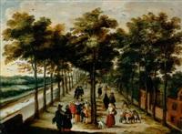 blick in eine allee entlang einem kanal in holland mit vielen eleganten figuren und bauern by willem van den bundel