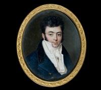 portrait de jeune homme dans une redingote bleue à col de velours noir by louis marie autissier