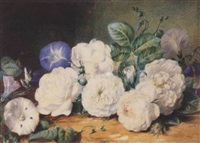 a still life of roses and other flowers by valentine bartholomew