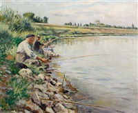fishing on a summers day by alfred louis andrieux