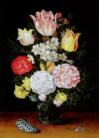 vase de roses, narcisses, tulipes sur un entablement by jan baptist fornenburgh