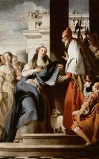 saint grata showing her father lupus the flowers of     saint alexander by giovanni raggi