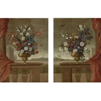 still lifes of lilies, roses, irises, morning glory and carnations, arranged in gilt vases, upon a stone balustrade draped with a red curtain, surrounded by butterflies, with a view overlooking the grounds of a palace (pair) by pedro de camprobin