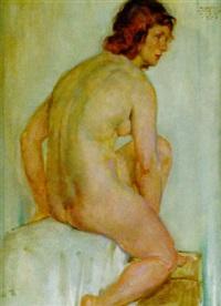 sitzender weiblicher akt by albert janesch