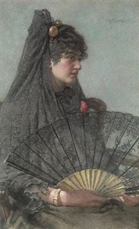 a young lady with a fan by henry sykes