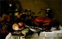 a roemer of white wine, a lobster on a pewter salver, bread and a peeled lemon, a porcelain dish with olives, a glass of beer, a salt-cellar with walnuts and grapes by cornelis cruys