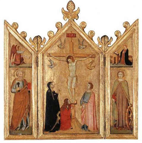 the crucifixion with the magdalen at the foot of the cross; saint peter; saint catherine; the annunciation above by giotto (ambrogio bondone)