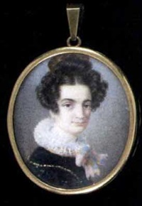 a young lady in black dress with frilled collar tied with a pink ribbon, a comb in her dressed hair by john joseph bilfeldt