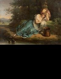 une jeune italienne s'abritant du soleil sous son tambour de basque by antoinette cécile hortense, mme haudebourt lescot