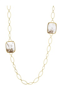 rutilated quartz, diamond, and gold necklace by margherita burgener
