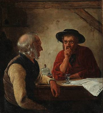 two men drinking schnapps by christian jens c thorrestrup