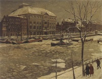 a view of the amstel with carré in winter by henk melgers