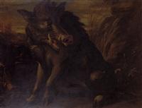 wild boars in extensive marshland landscape by juriaen jacobsen