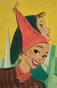 women modelling hats against skyline (magazine cover illus. for 1/28/1940 issue of saturday home magazine) by earl oliver hurst