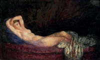 femme nue allongée by michel simonidy