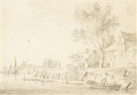 paysage fluvial animé avec des habitations by cornelis simonsz van der schalcke