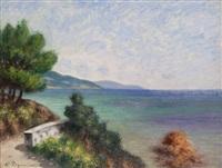 paysage méditerranéen en bord de mer by auguste pegurier