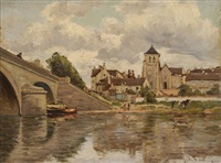 village en bordure de fleuve by henri linguet