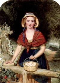 a country lass taking her eggs to market by j. deane simmons