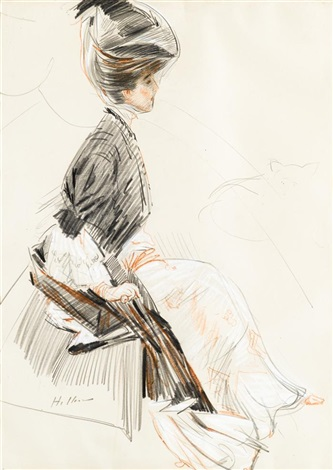 portrait of a lady said to be madame singer by paul césar helleu