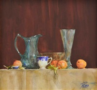 blue-green pitcher and peaches by laura robb