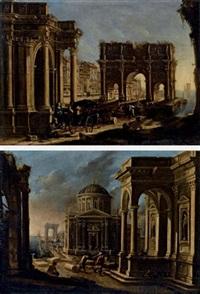 capriccio architettonico con arco di trionfo e figure in carrozza (+ architettonico con porticciolo sullo sfondo; 2 works) by alessandro salucci
