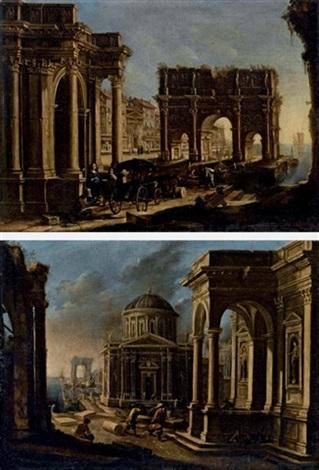 capriccio architettonico con arco di trionfo e figure in carrozza architettonico con porticciolo sullo sfondo 2 works by alessandro salucci