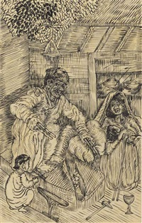 untitled (blacksmith and family) by nandalal bose