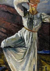 portrait of a dancer (+ 2 others, watercolor; 3 works) by nina yakovlevna simonovich-efimova