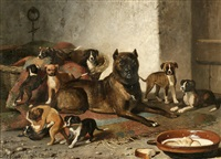bulldog and litter by bernard de gempt