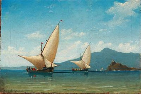 summer day with sailing ships on the sea presuambly in the bosporus strait by daniel hermann anton melbye