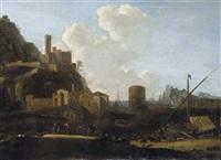 veduta su un porto mediterraneo (+ paesaggio laziale con viandanti; 2 works) by bartholomeus appelman