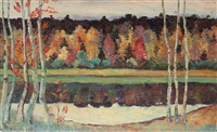 autumn birches by mikhail vasilievich nesterov