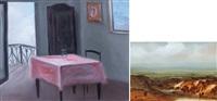 senza titolo e interno con terrazzo (2 works) by silvano d' ambrosio