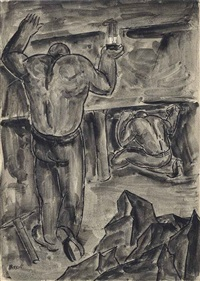 checking the props; miners at work (2 works) by george bissill