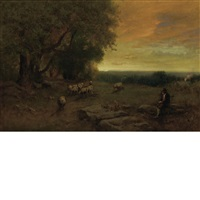 the shepherd and flock at sunset, italy by george inness