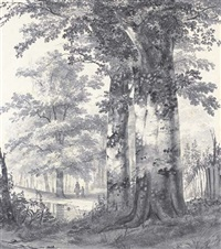 a wooded landscape with figures by a pond by james de rijk