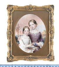 the misses alice and minney squarey of salisbury: the former, wearing mauve dress and sash, white under-dress, jet necklace, her arm around her younger sister; the latter, wearing white dress with lace trim and cuffs by reginald easton