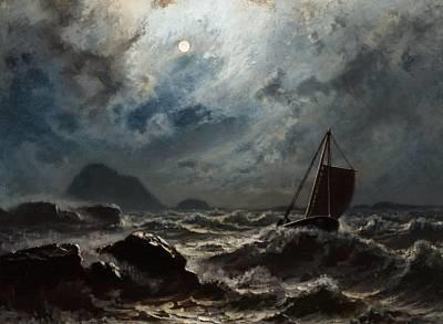 stürmische nacht küste norwegens by knud andreassen baade