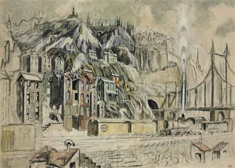 cliff dwellers on joined sheets by charles ephraim burchfield